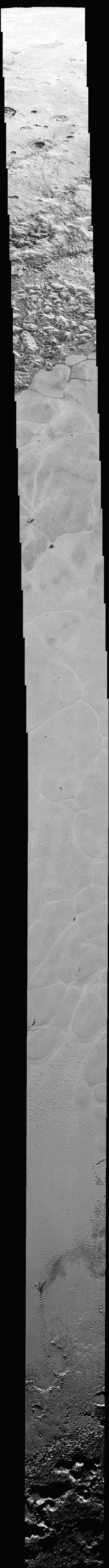 The mosaic strip ? extending across the hemisphere that faced the New Horizons spacecraft as it flew past Pluto on July 14 last year ? now includes all of the highest-resolution images taken by the ...