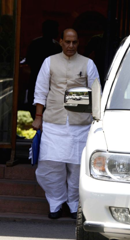 Union Home Minister Rahnath Singh comes out after a cabinet meeting at South Block in New Delhi, on May 18, 2016. - Rahnath Singh