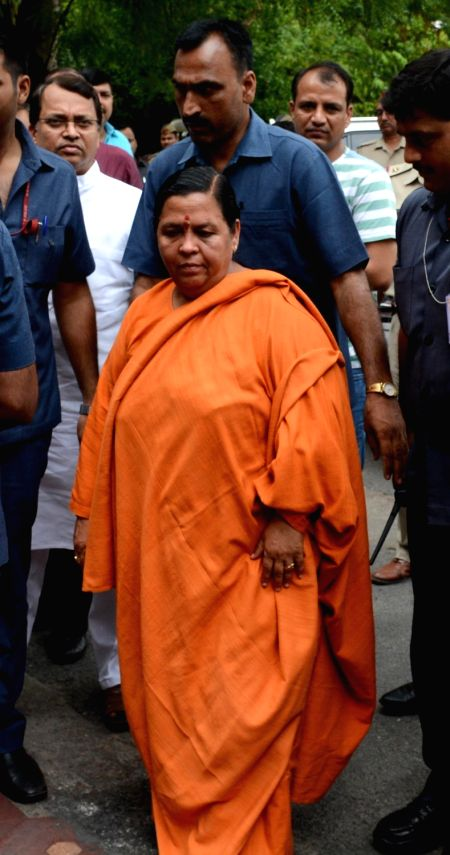 Union Minister and BJP leader Uma Bharti arrives at a Lucknow guest house on May 30, 2017.