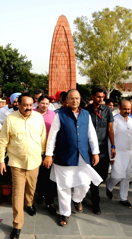 Union Minister for Finance, Corporate Affairs and Defence Arun Jaitley during his visit to Jallianwala Bagh in Amritsar on Aug 18, 2014.