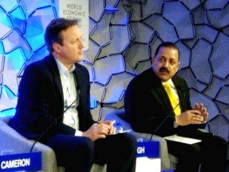Jitendra Singh, David Cameron during a Panel discussion at WEF