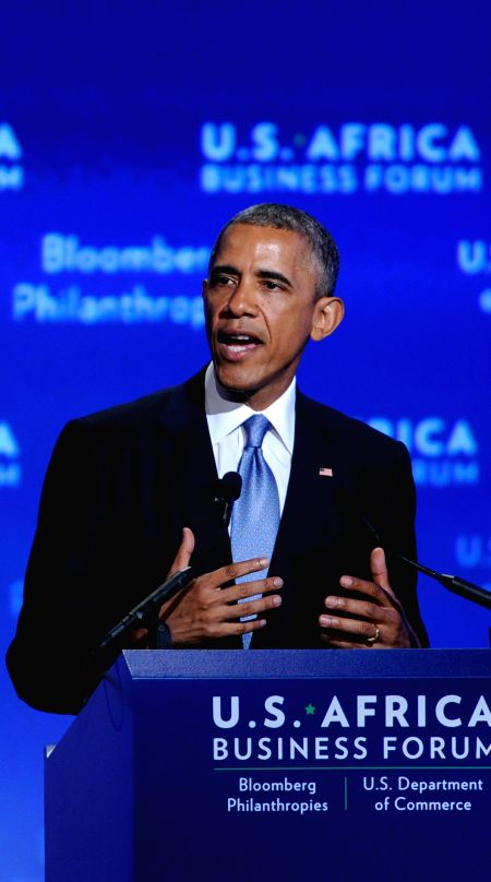 U.S. President Barack Obama speaks during the business forum of the first U.S.-Africa Summit in Washington D.C., capital of the United States, Aug. 5, 2014. .