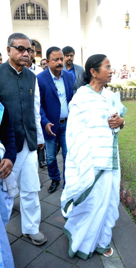 West Bengal Chief Minister Mamata Banerjee outside the State Legislative Assembly in Kolkata on Jan 31, 2018. - Mamata Banerjee