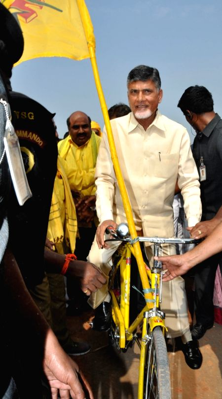 West Godavari: Andhra Pradesh Chief Minister N. Chandrababu Naidu participates in Jana Chaitanya Yatra at Denduluru village in West Godavari district of the state on Dec 4, 2015. - N. Chandrababu Naidu