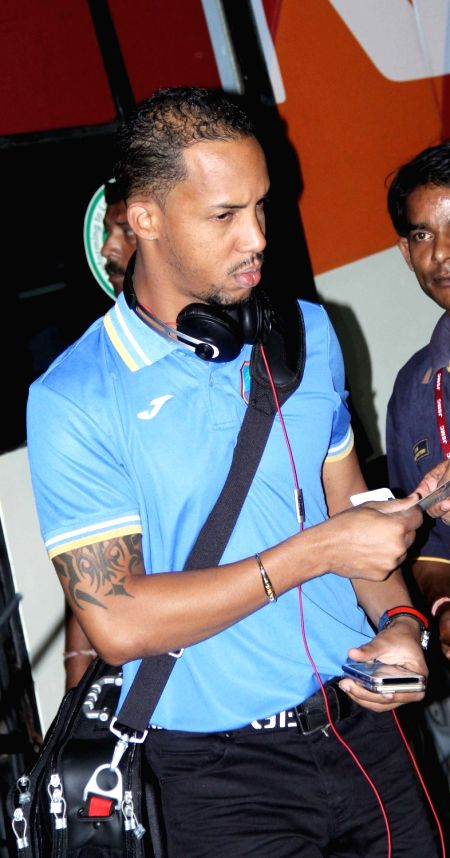 West Indies cricketer Lendl Simmons on his way back home at Netaji Subhas Chandra Bose International Airport in Kolkata, on April 4, 2016.