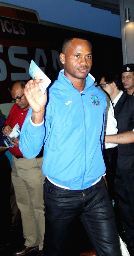 West Indies cricketer Marlon Samuels on his way back home at Netaji Subhas Chandra Bose International Airport in Kolkata, on April 4, 2016.