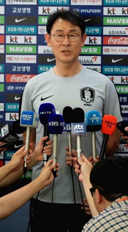 Yoon Duk-yeo, head coach of the South Korean women's football team, speaks at a press conference at the National Football Center (NFC) in Paju, Gyeonggi Province, on July 30, 2018.