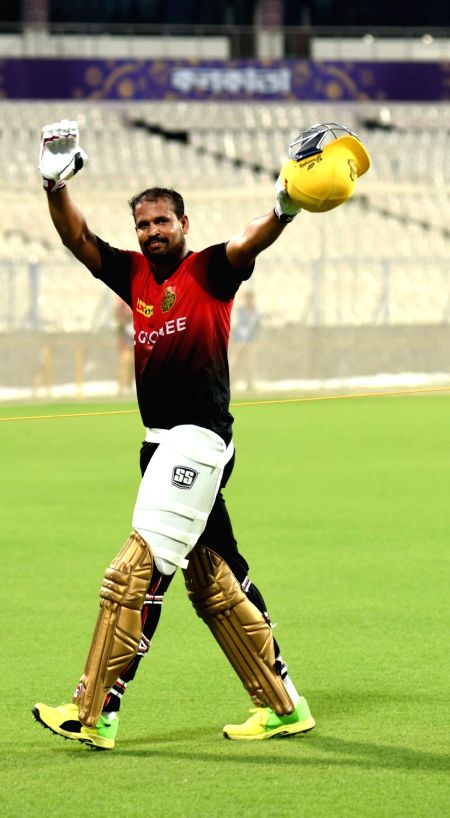 Yusuf Pathan of Kolkata Knight Riders during practice session for IPL at Eden Gardens in Kolkata on May 2, 2017.