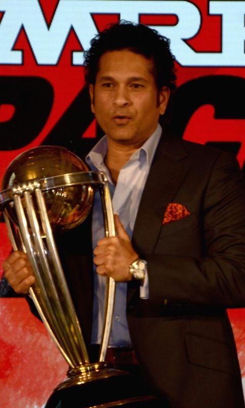 Cricket legend Sachin Tendulkar during `ICC Cricket World Cup 2015 trophy exhibition` in Mumbai on Feb. 7, 2015.