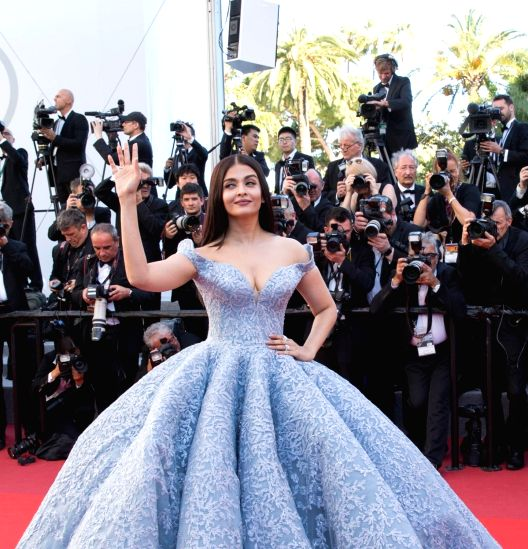 """Cannes (France): Indian actress Aishwarya Rai Bachchan poses on the red carpet for the screening of the film """"Okja"""" in competition at the 70th Cannes International Film Festival in Cannes, France, on May 19, 2017."""