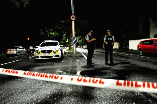 CHRISTCHURCH, March 15, 2019 (Xinhua) Policemen are seen on a road near the scene where the terror attacks occurred in Christchurch, New Zealand, March 16, 2019. At least 49 people were killed and 48 others wounded in the attacks on two mosques of Ne(Image Source: IANS News)