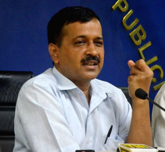 Delhi Chief Minister Arvind Kejriwal addresses during a press conference in New Delhi on Aug 18, 2017.