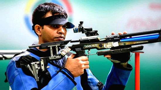 Indian shooter Deepak Kumar competes in the Men's 10m Air Rifle event at the 2018 Asian Games, in Jakarta on Aug 20, 2018. Kumar handed India it's third medal at the ongoing 2018 Asian Games ...(Image Source: IANS/PIB)