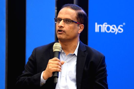 Infosys COO Pravin Rao addresses a press conference organised to announce results of the first quarter of fiscal 2018-19, in Bengaluru, on July 13, 2018. The company reported Rs 3l,613 ...