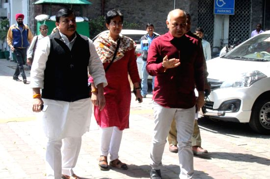 New Delhi: Aam Aadmi Party (AAP) delegation led by Delhi Deputy Chief Minister and party leader Manish Sisodia after meeting the Chief Election Commissioner (CEC) in New Delhi, on March 15, 2019. Also seen AAP MP Sanjay Singh. (Photo: IANS)(Image Source: IANS News)