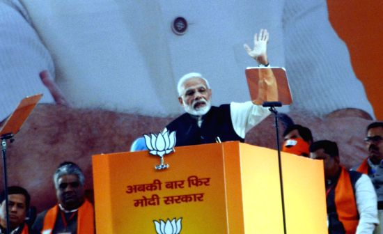 New Delhi: Prime Minister and BJP leader Narendra Modi addresses on the second day of the party's two-day long National Council meeting at Ramlila Maidan in New Delhi, on Jan 12, 2019. (Photo: IANS)(Image Source: IANS News)