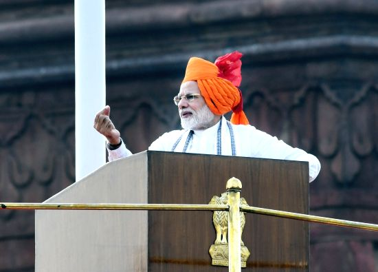 : New Delhi: Prime Minister Narendra Modi addresses the Nation on the occasion of 72nd Independence Day from the ramparts of Red Fort, in Delhi on Aug 15, 2018. (Photo: IANS/PIB).(Image Source: IANS)