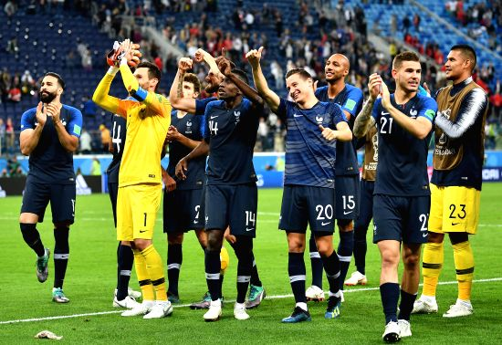 Players of France celebrate victory after the 2018 FIFA World Cup semi-final match between France and Belgium in Saint Petersburg, Russia, July 10, 2018. ...(Image Source: Xinhua/Li Ga/IANS)
