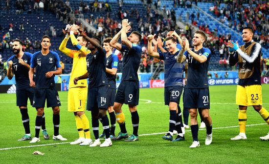 Players of France greet the audience after the 2018 FIFA World Cup semi-final match between France and Belgium in Saint Petersburg, Russia, July 10, 2018. ...(Image Source: Xinhua/Li Ga/IANS)