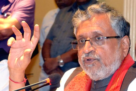 State Finance Ministers' Group Chairman and Bihar Deputy Chief Minister Sushil Kumar Modi addresses a press conference on GST, in Bengaluru on July 14, 2018.(Photo:IANS)