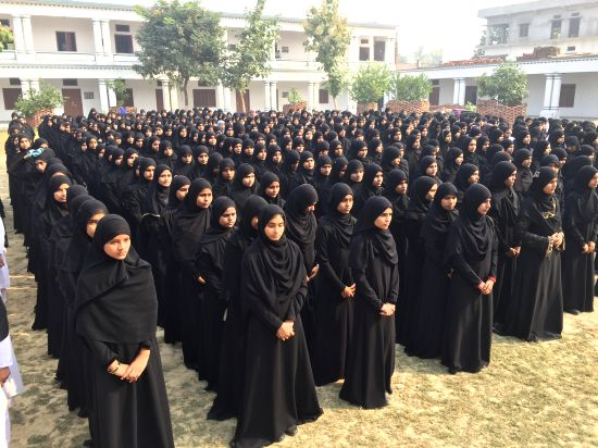 Students of Fatima Girls Inter College during the morning assembly at Daudpur Village in district Azamgarh