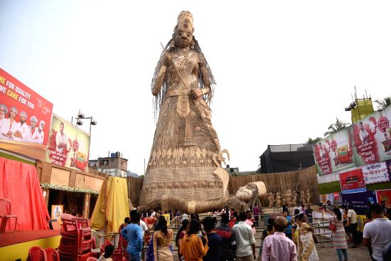 The 110-ft tall bamboo idol of Goddess Durga which is all set to enter the Guinness Book of Records as the tallest bamboo sculpture ever made.