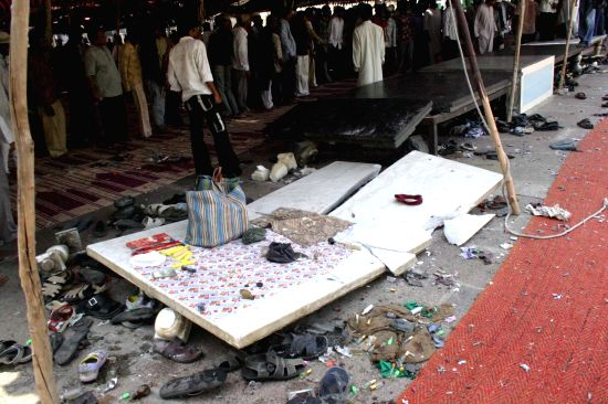 The site of explosion that took place during Friday prayers  on on 18th May, 2007 near the iconic Charminar of Hyderabad killing nine people and injuring over 50 others. The explosion ...(Image Source: IANS)