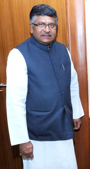 Union Minister for Communications & Information Technology and BJP leader Ravi Shankar Prasad. (Image Source: IANS)