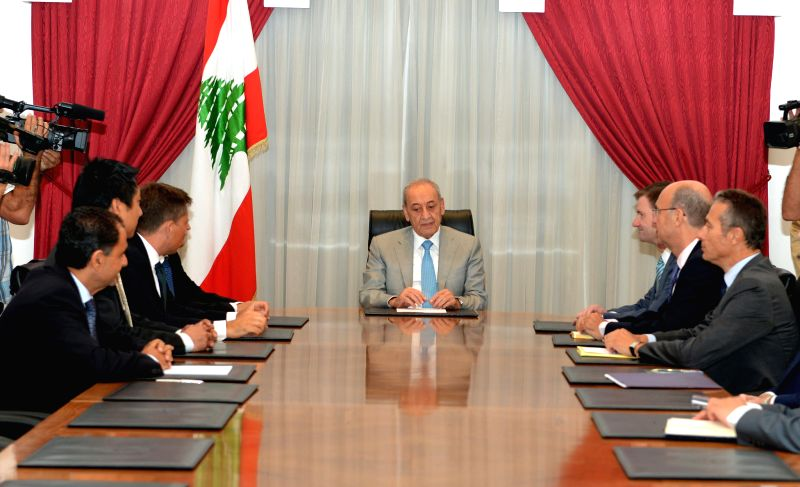 Lebanon's Parliament Speaker Nabih Berri (C) meets with diplomats of the five permanent powers at UN Security Council as well as the UN's Special ...