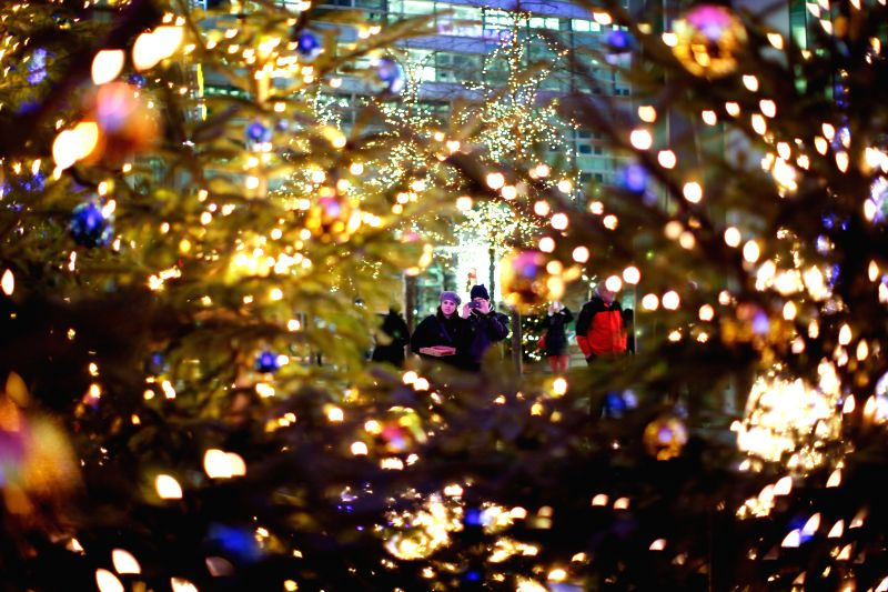 Visitors take photos of Christmas trees decorated with lights in Berlin, Germany, on Dec, 23, 2014.