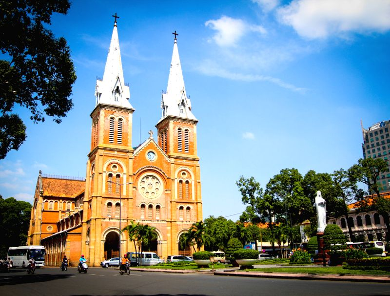 Photo taken on Dec. 22, 2014 shows the Saigon Notre-Dame Basilica Church on Dong Khoi Street in Ho Chi Minh City, Vietnam. (Xinhua/Nguyen Le ...
