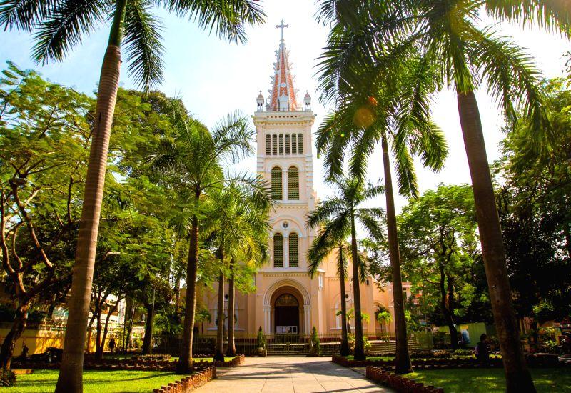 Photo taken on Dec. 22, 2014 shows the Cho Quan Church on Tran Binh Trong Street in Ho Chi Minh City, Vietnam.