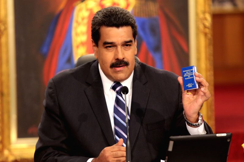 Image provided by the Venezuela's Presidency shows the Venezuelan President Nicolas Maduro participating during a press conference to present a balance .