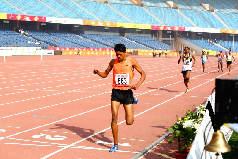 1500m Boys race winner Anu Kumar during Khelo India School Games at the Jawaharlal Nehru Stadium in New Delhi on Jan 31, 2018. Kumar finish the race in 4:04.77 seconds. - Kumar