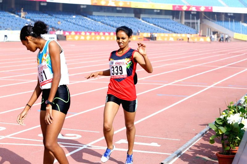 1500m Girls race winner C Chanthini during Khelo India School Games at the Jawaharlal Nehru Stadium in New Delhi on Jan 31, 2018. Chanthini finish the race in 4:50.81 seconds.