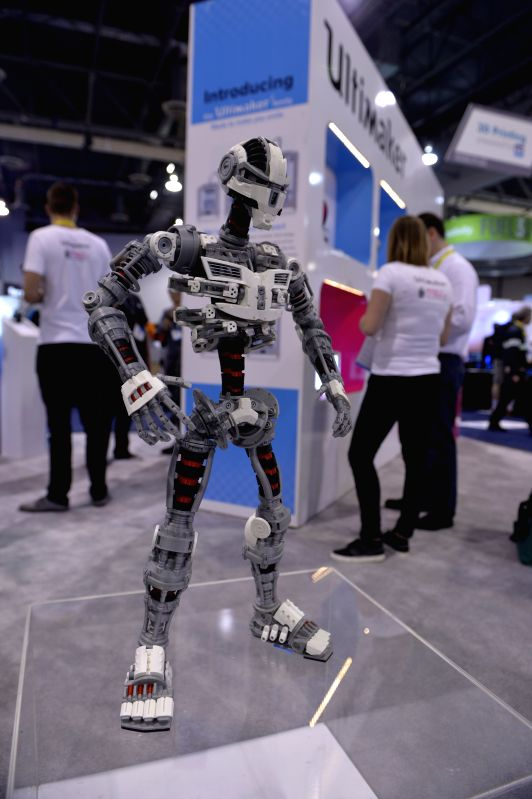 """The 3D printed """"robot"""" is seen at the 2015 International Consumer Electronics Show (CES) in Las Vegas, Nevada, the United States, on Jan. 6, ."""