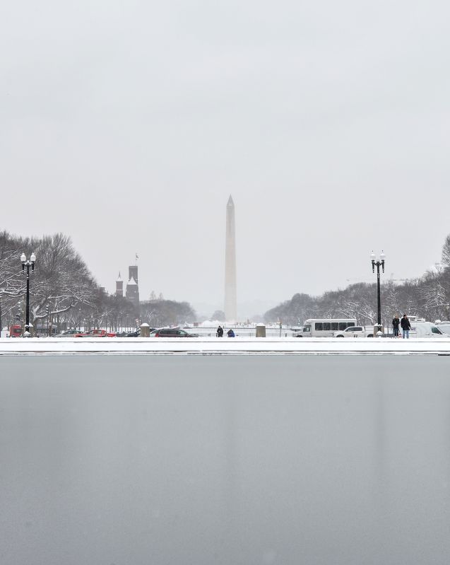 The image shows the Washington Monument after a snowfall in Washington D.C., the United States, Jan. 6, 2015. The first snowfall of this winter ...