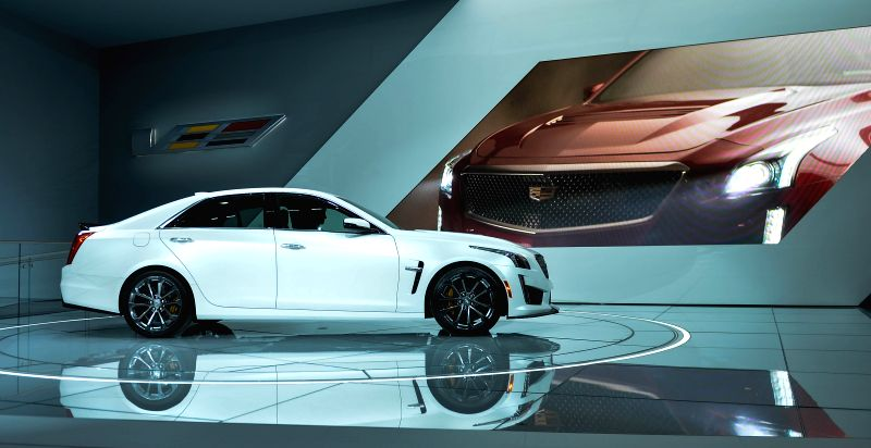 Cadillac unveils its 2016 CTS-V during a press preview of the 2015 North American International Auto Show (NAIAS) in Detroit, the United States, Jan. ...