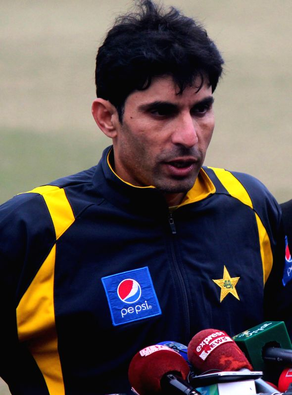 Pakistani cricket team captain Misbah-ul-Haq speaks to media in eastern Pakistan's Lahore, Jan. 13, 2015. Pakistan's national cricket team on Tuesday ... - Misbah