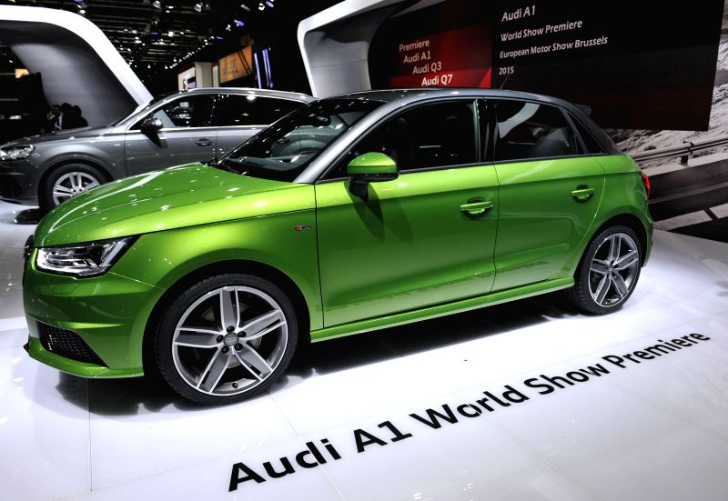A new Audi A1 Sportback is displayed on the press day at the Brussels Motor Show in Brussels, Belgium, Jan. 15, 2015. The Motor show will run from Jan.
