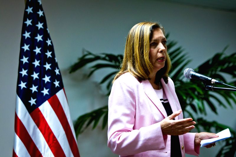 Josefina Vidal Ferreira, director general for United States of Cuban Ministry of Foreign Affairs, speaks at the press conference after the U.S.-Cuba ...