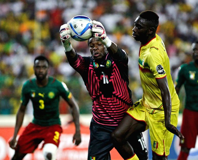 Cameroon's goalkeeper Joseph Fabrice Ondoa Ebogo competes during a group match against Mali in Malabo, capital of Equatorial Guinea, on Jan. 20, 2015. ...