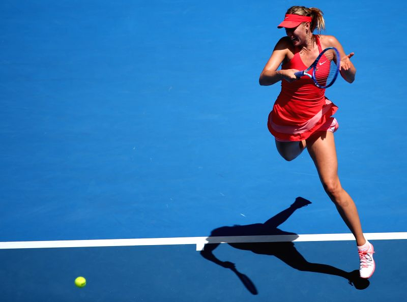 Maria Sharapova of Russia returns the ball during the second round match of women's singles against Alexandra Panova of Russia at the 2015 Australian .
