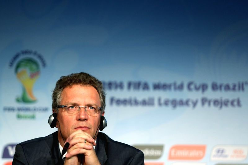 FIFA Secretary General Jerome Valcke attends a press conference on FIFA World Cup Legacy Fund, at Arena Corinthians auditorium, in Sao Paulo, Brazil, .