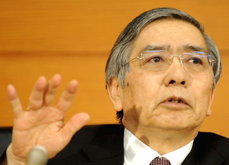 Haruhiko Kuroda, Governor of the Bank of Japan (BOJ), attends a press conference at its headquarter in Tokyo, Japan, Jan. 21, 2015. BOJ on Wednesday cut ..