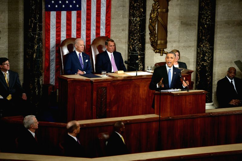 U.S. President Barack Obama delivers the State of the Union Address to a joint session of Congress on Capitol Hill in Washington D.C., the ...