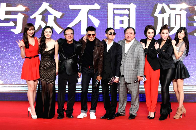 Director Jing Wong (4th R), producer Wai-Keung Lau (3rd L), actors Yun-Fat Chow (4th L) and Nick Cheung (C) attend the press conference of movie ... - Yun-Fat Chow
