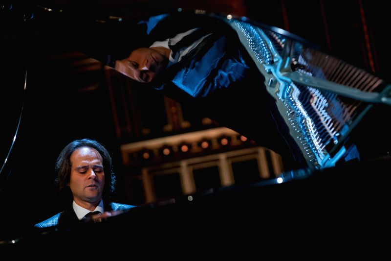 Hungarian pianist Gergely Boganyi plays the new, Hungarian-developed pinao at a gala concert on the eve of the Day of Hungarian Culture at the Academy ..