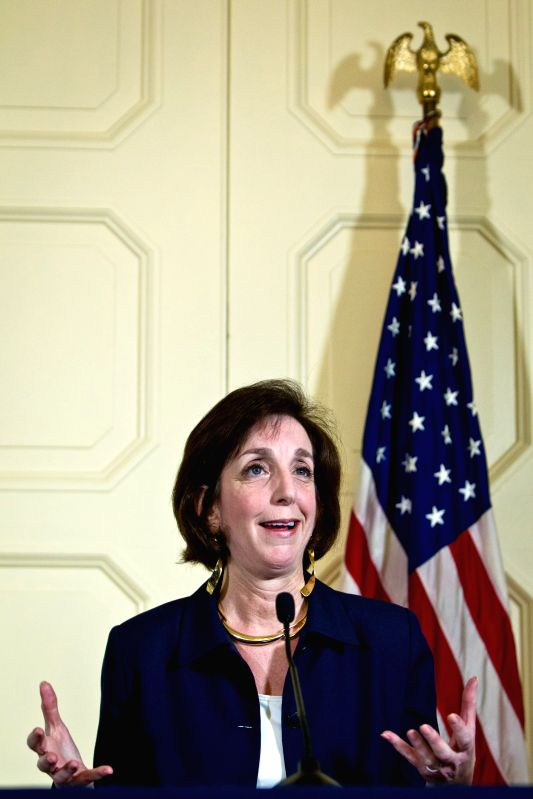 Roberta Jacobson, Assistant Secretary of State for Western Hemisphere Affairs of the United States, speaks at a press conference located at the residence
