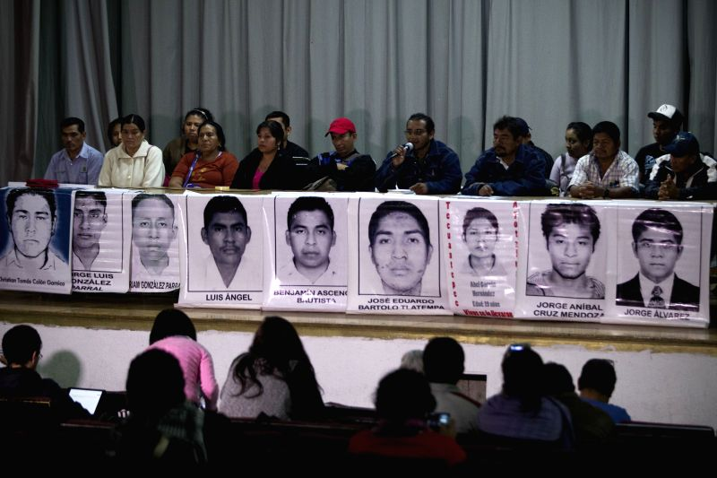 Relatives of the missing students of Ayotzinapa's Normal Rural School Raul Isidro Burgos take part in a press conference in Mexico City, capital of .
